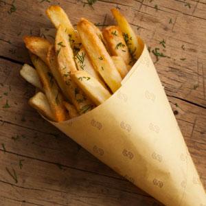 cono in carta paglia per alimenti fritti